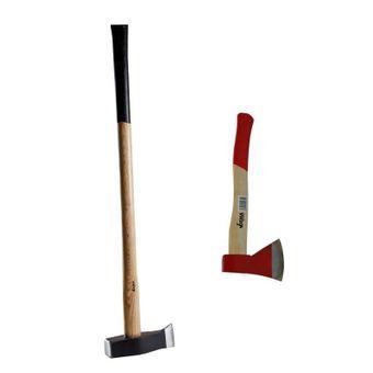 2er Beil / Axt - Spalthammer Set mit Eschenholz-Stiel 36cm + 90cm – Bild $_i