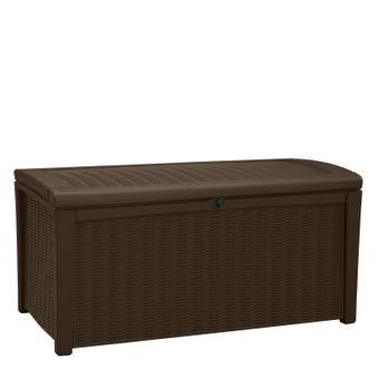 Garten Box keter garten box aufbewahrungsbox holzoptik borneo 400 liter