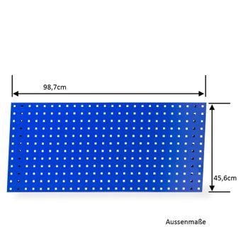 Lochblech / Werkzeug Lochwand 98,7 x 45,6 cm Stahlblech blau – Bild $_i