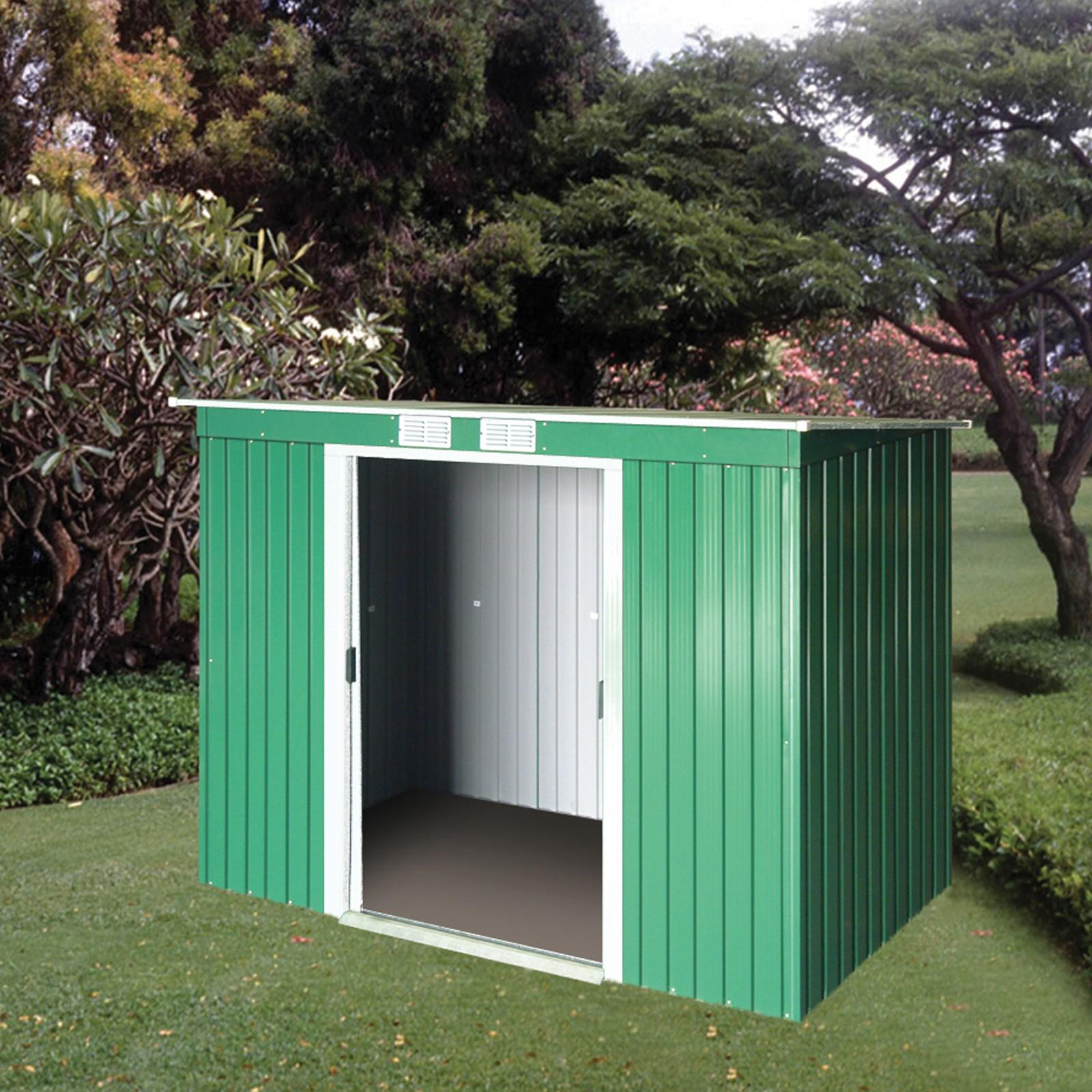 tepro metall ger tehaus gartenhaus pent roof 8 x 4 gr n. Black Bedroom Furniture Sets. Home Design Ideas