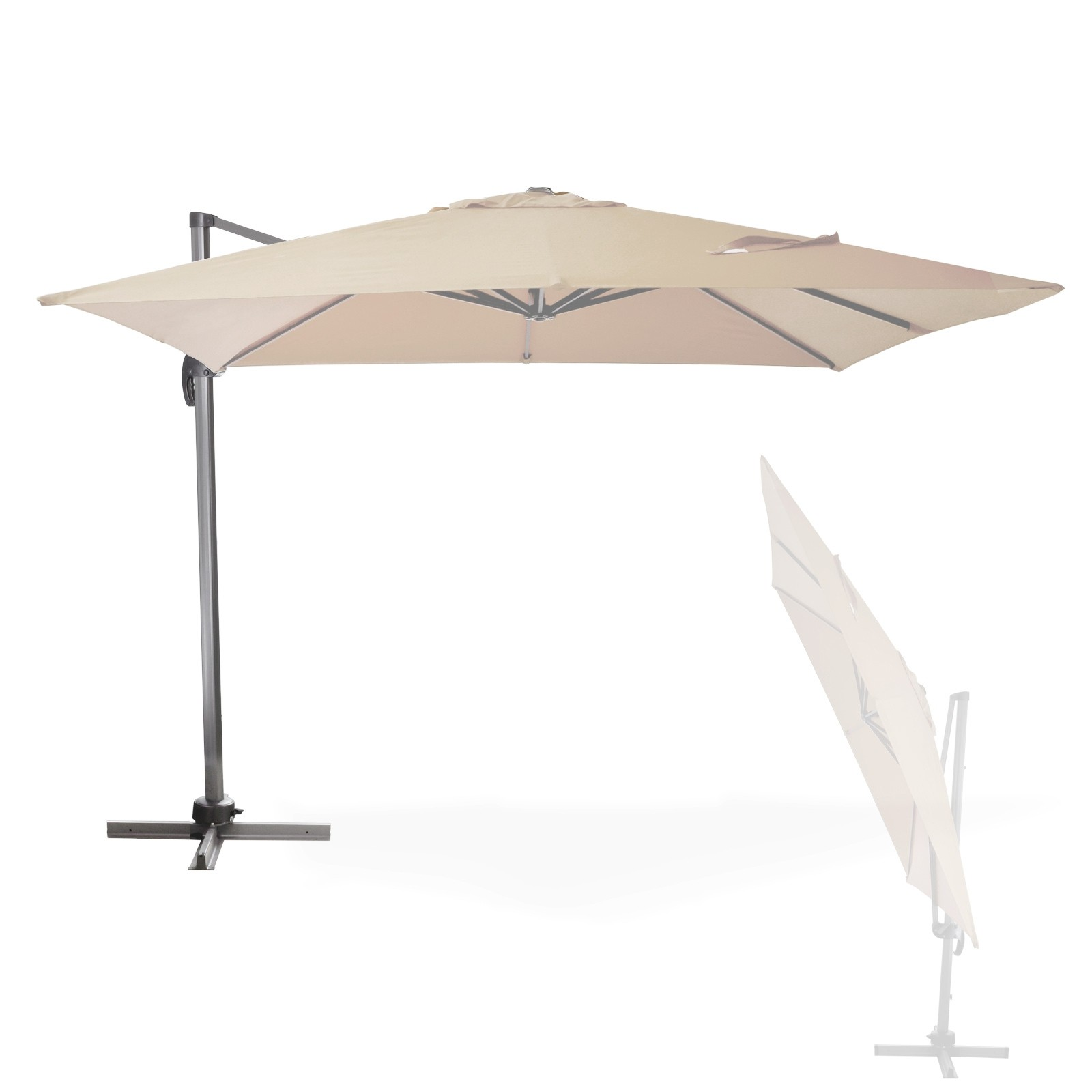 Dema Sonnenschirm Ampelschirm 3x3m Gartenschirm Marktschirm Verona Ecru Beige 41284