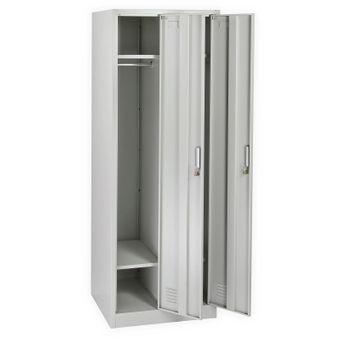 Spind / Garderobenschrank 2-türig, hellgrau, 60x50x178 cm, abschließbar – Bild $_i