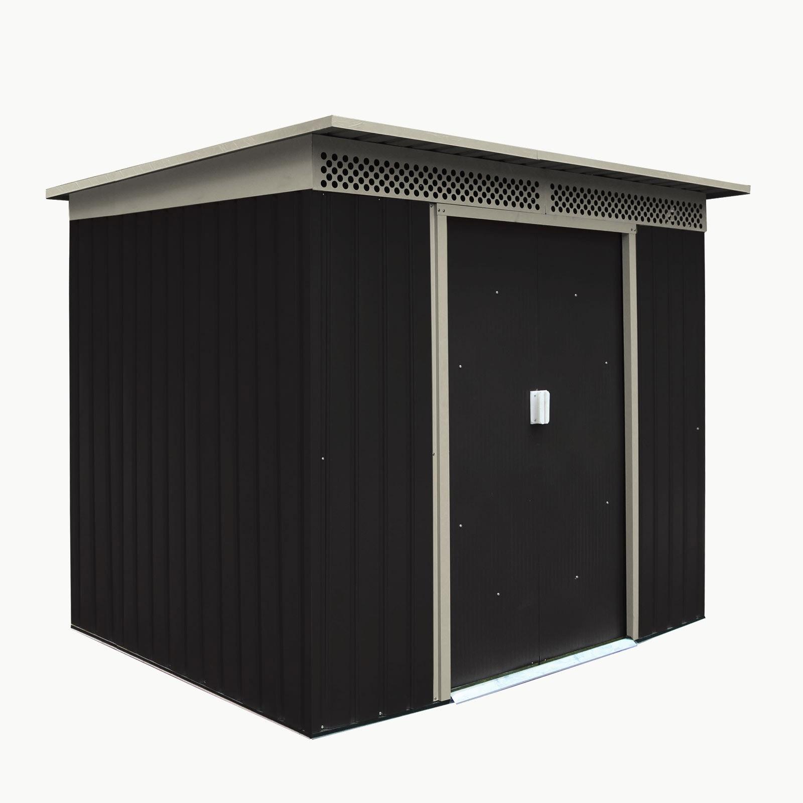 Dema Geräteschuppen Gerätehaus Schuppen Gartenhaus Dublin Metall 4,8 qm Anthrazit 47083