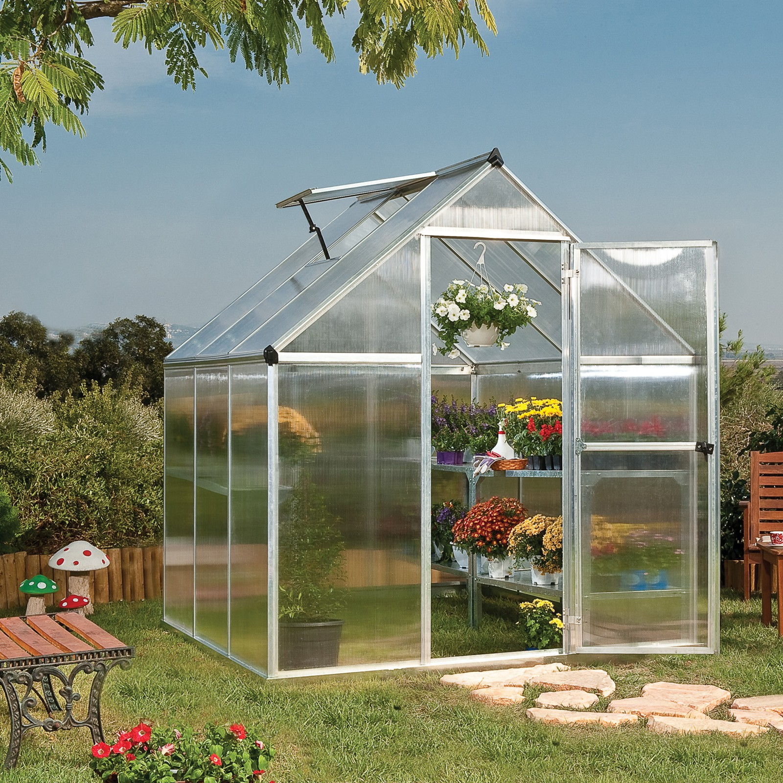tepro palram gew chshaus 3 4 m treibhaus tomatenhaus 6x6 mythos anzuchthaus ebay. Black Bedroom Furniture Sets. Home Design Ideas