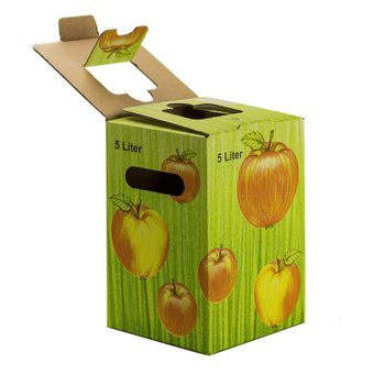 10x Bag in Box Saft-Karton / Faltkarton mit Apfeldekor 5 Liter – Bild $_i