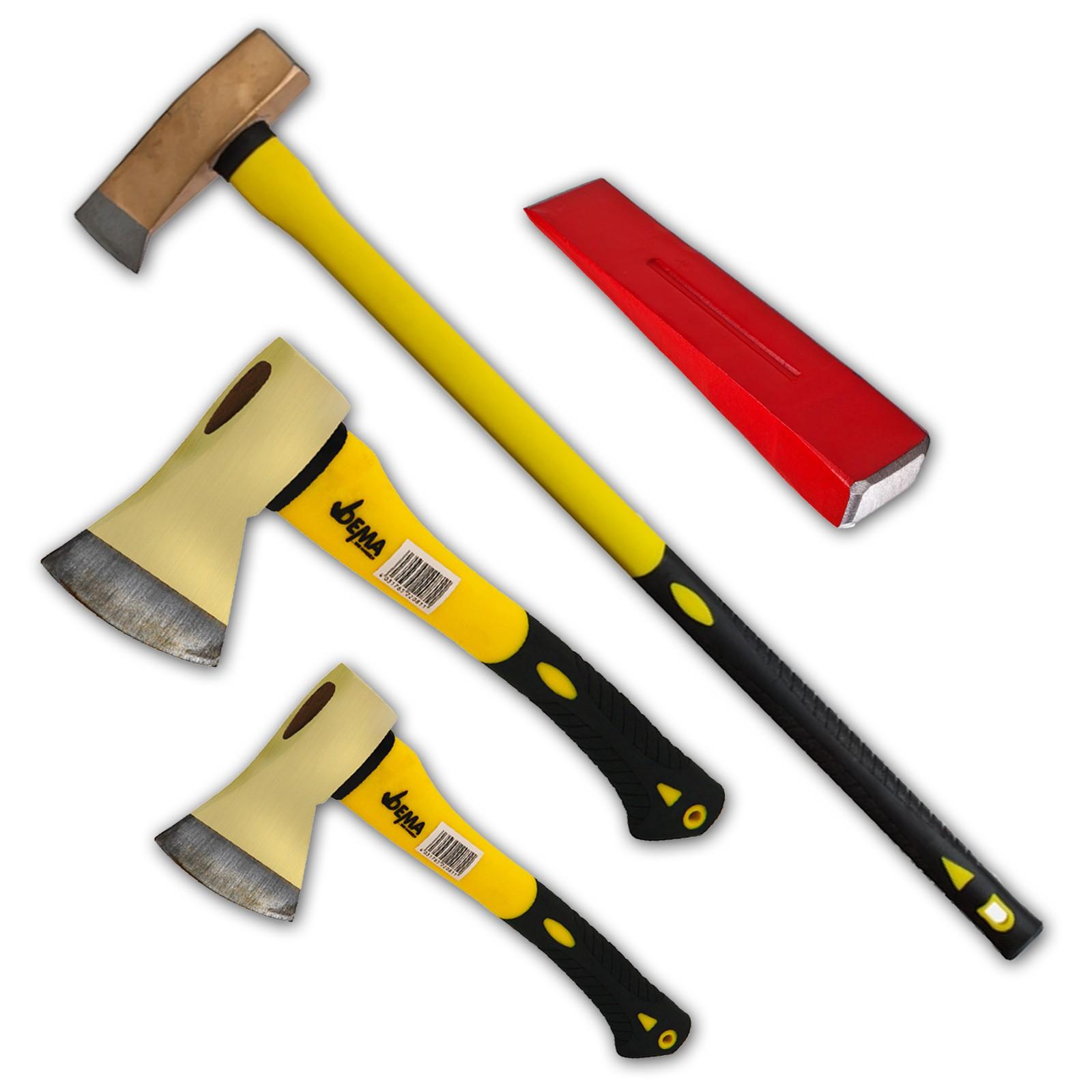 Dema 4er Axt-Set Spaltaxt / Spaltbeil / Spalthammer / Spaltkeil Dema-Axt-Set
