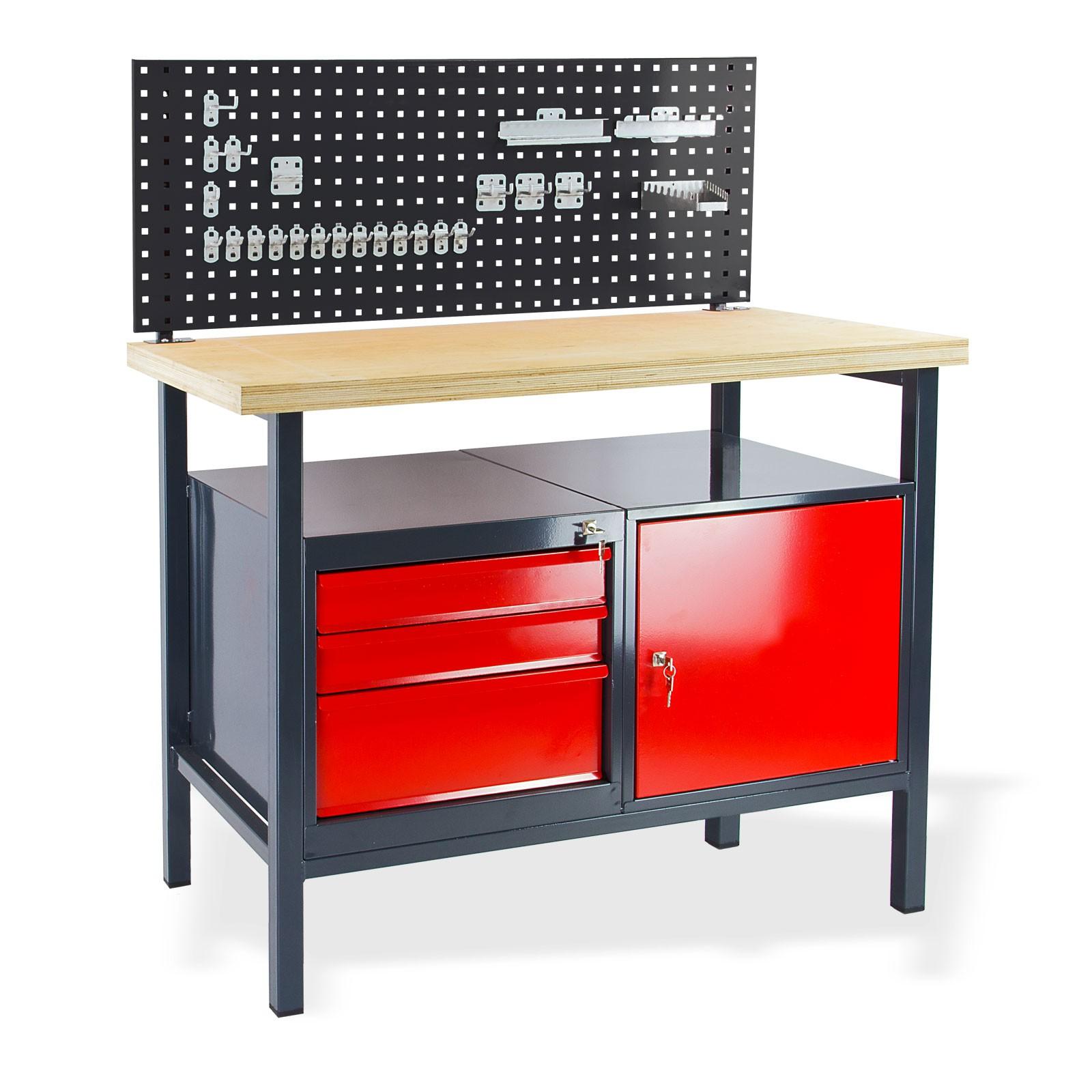 Metall Werkbank / Werktisch mit Lochwand