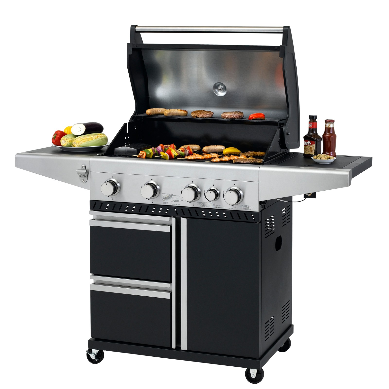 Tepro Gasgrill BBQ Grillwagen 4 Edelstahl Brenner Gas Barbecue Grill Fairmont 3171