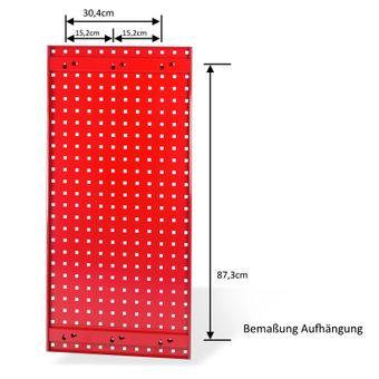Lochblech / Werkzeug Lochwand 98,7 x 45,6 cm Stahlblech rot – Bild $_i
