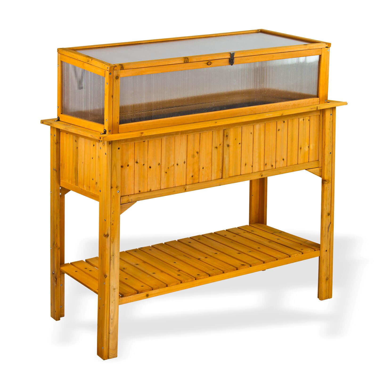Dema Holz Hochbeet Lucca mit Ablage und Frühbeet-Aufsatz Garten-Beet aus Nadelholz 47043