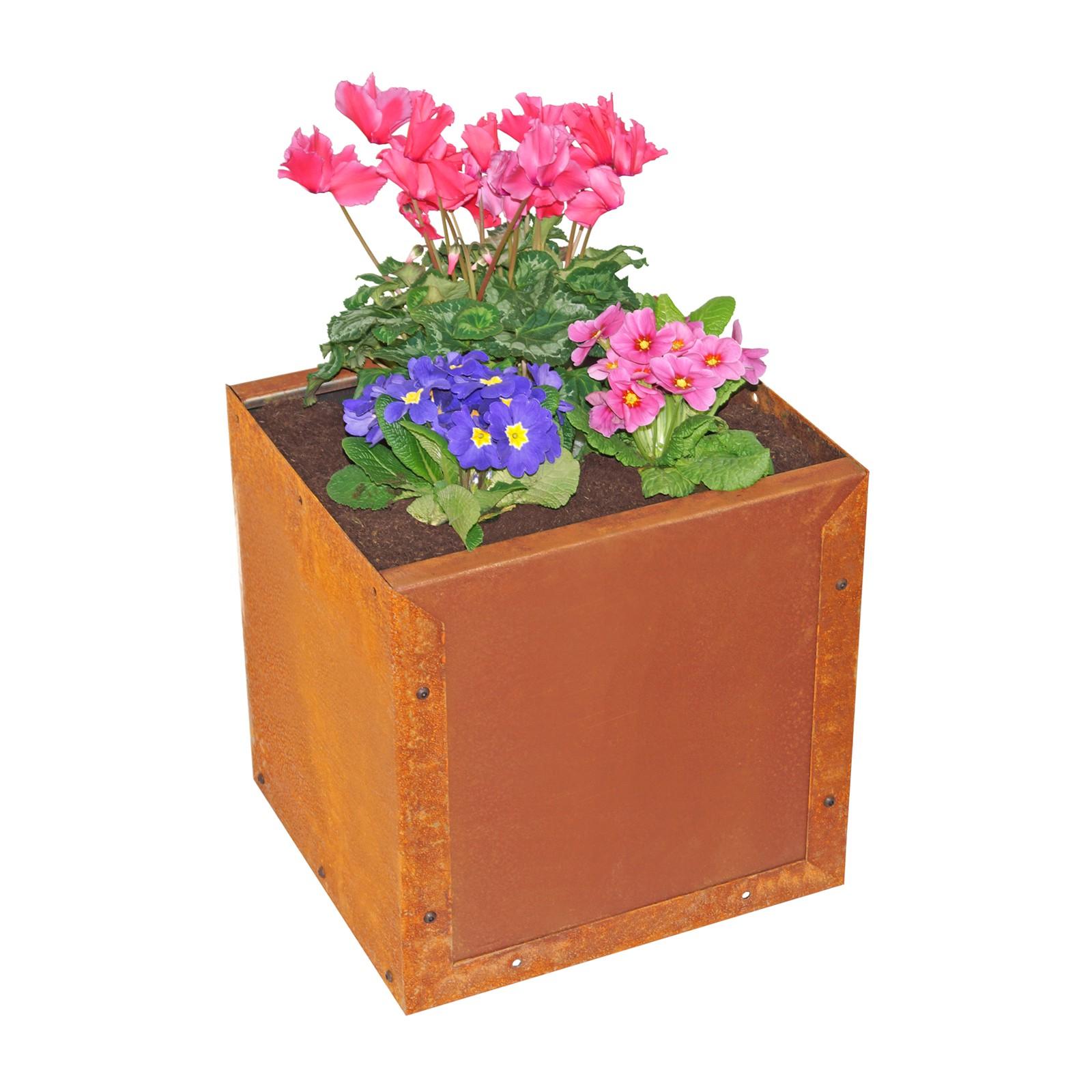 Prima terra Pflanzkasten Blumenkasten Edelrost 38x38x35cm Pflanzkübel Pflanztrog S3003201