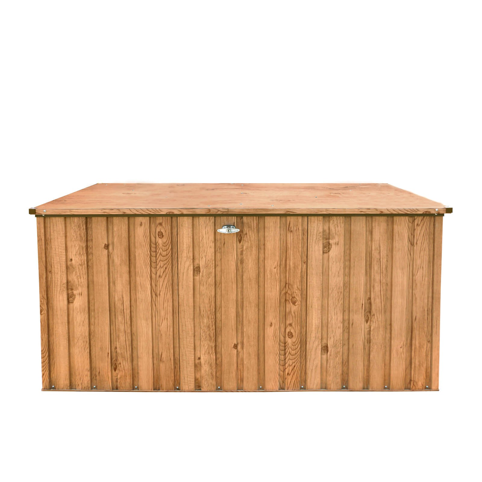metall ger tebox gartentruhe gartenbox aufbewahrungsbox 190x90 cm holz dekor ebay. Black Bedroom Furniture Sets. Home Design Ideas