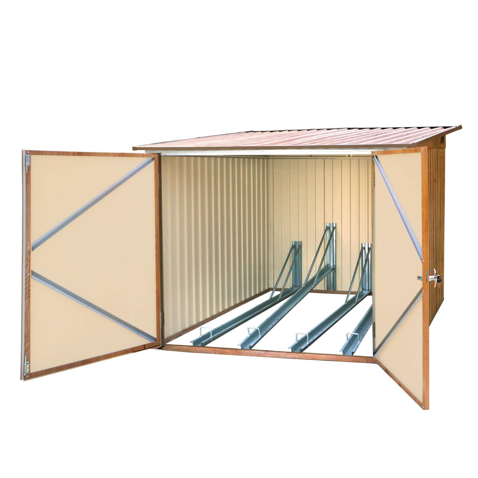 metall fahrradgarage fahrradbox fahrradschuppen holz dekor f r 4 fahrr der ebay. Black Bedroom Furniture Sets. Home Design Ideas