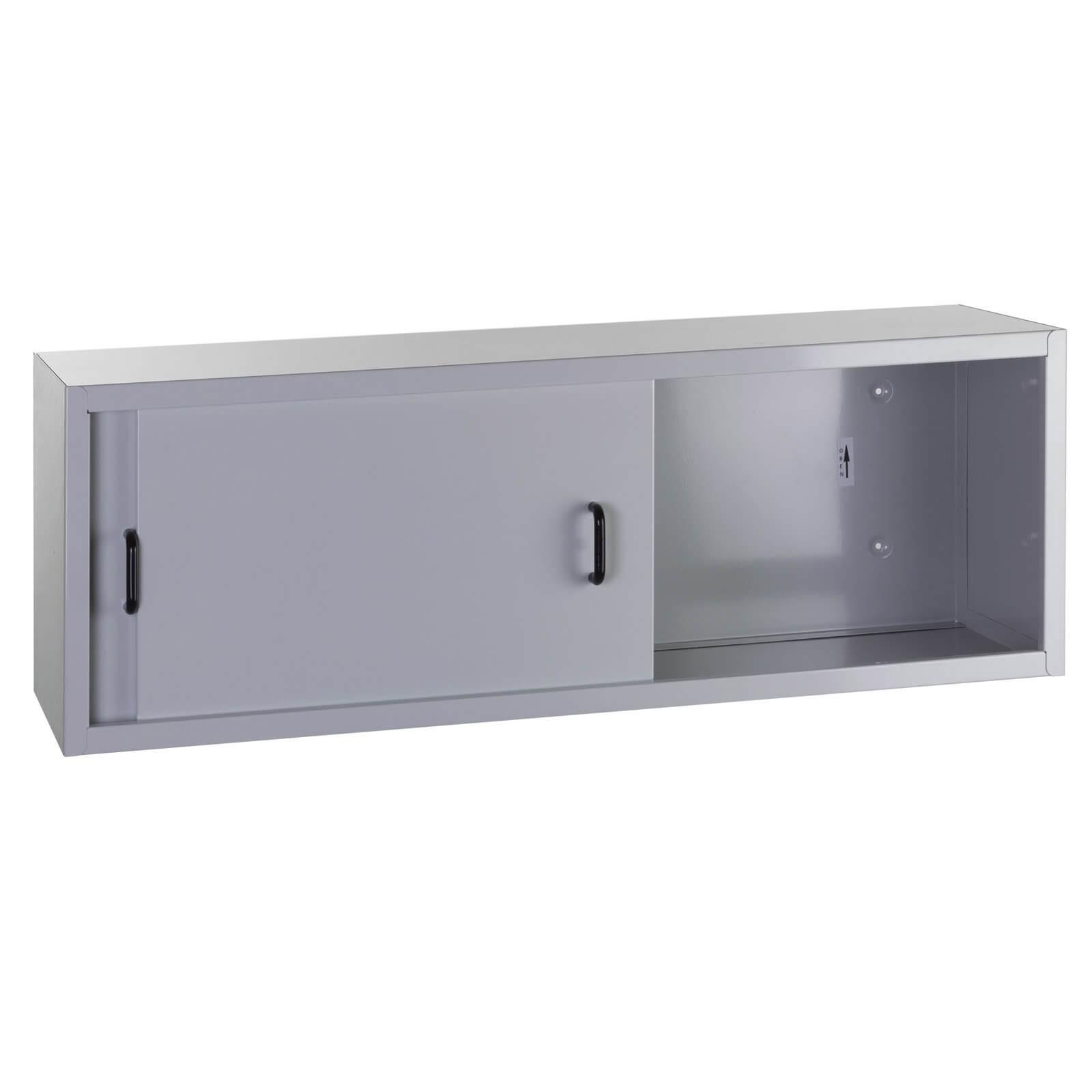 h ngeschrank wandschrank werkstattschrank metallschrank 2 schiebet ren hellgrau ebay. Black Bedroom Furniture Sets. Home Design Ideas