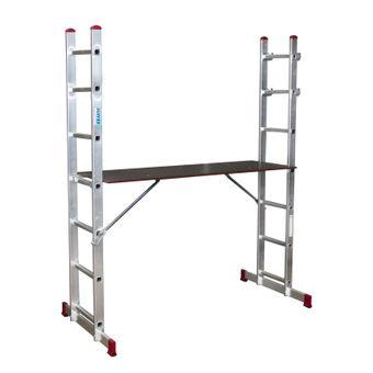 Krause Corda Leitergerüst Multifunktions Gerüst Stehleiter 2x7 Sprossen