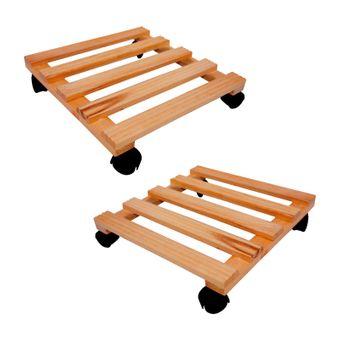 Set 2x Holz Blumenroller 35x35 cm Pflanzenroller – Bild $_i