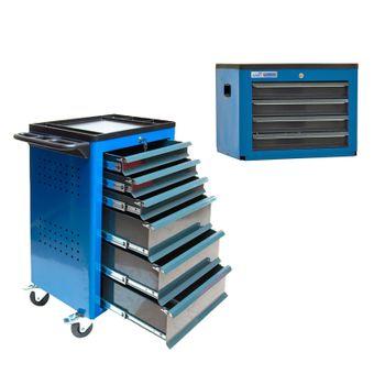ADB Werkstattwagen Basic mit Werkzeugtruhe, 12 Schubladen blau – Bild $_i