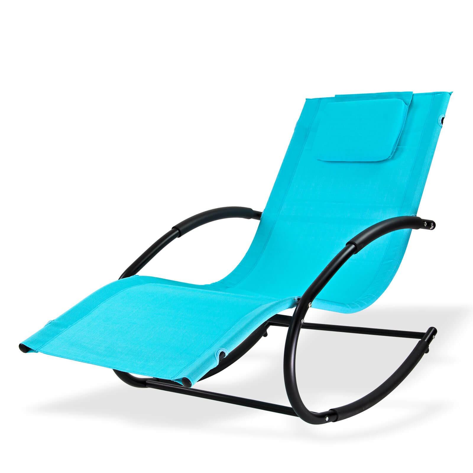 Dema Sonnenliege Relaxliege Gartenliege Liegestuhl Schaukelliege Swing Hellblau 94086