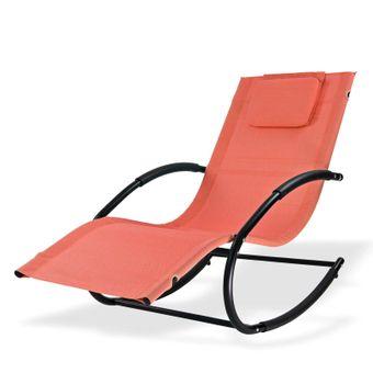 Relaxliege Sonnenliege Gartenliege Liegestuhl Schaukelliege Swing Terracotta – Bild $_i