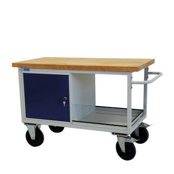 ADB Werkbank / Werktisch, fahrbar, 1300x840x600 mm, mit Buchenholzplatte – Bild $_i
