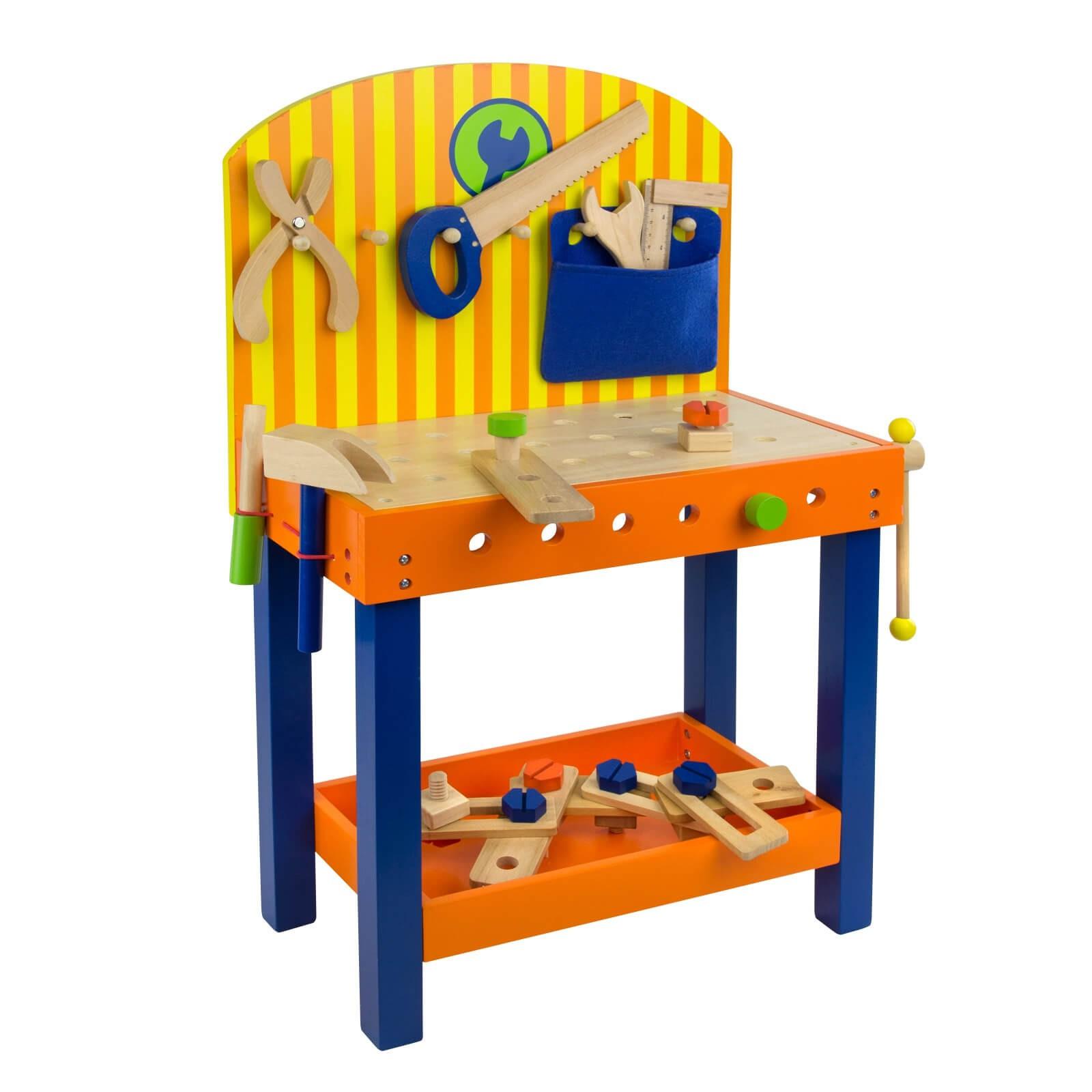 Dema Kinderwerkbank Benji Kinder Holz Werkbank mit Werkzeug Spielzeug Spielwaren 12301
