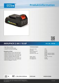 Güde Ersatzakku Akkupack 2 Ah/18AP Li-Ion Akku für Rasentrimmer 250/18 RT 95794 – Bild $_i