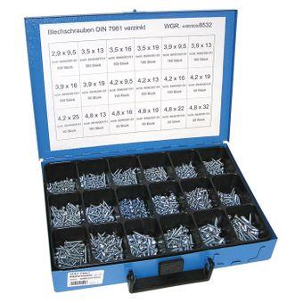 Sortiment Blechschrauben verzinkt DIN 7981 Schrauben 1450 teilig