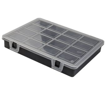 Kunststoff Sortimentskoffer / Sortimentskasten 16 Fächer schwarz / transparent – Bild $_i