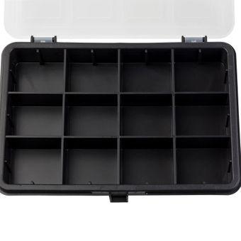 Kunststoff Sortimentskoffer / Sortimentskasten 12 Fächer schwarz / transparent – Bild $_i