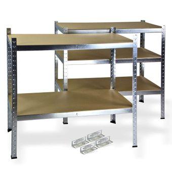 Steckregal / Kellerregal verzinkt mit 5 Holzböden 200x100x50 cm – Bild $_i