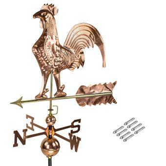 3D Wetterfahne Hahn aus Kupfer mit Standfuß für Dachmontage oder Bodenmontage – Bild $_i