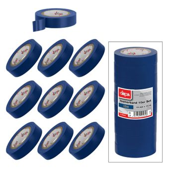 Isolierband Klebeband 10er Set Blau 15 mm x 10 m – Bild $_i
