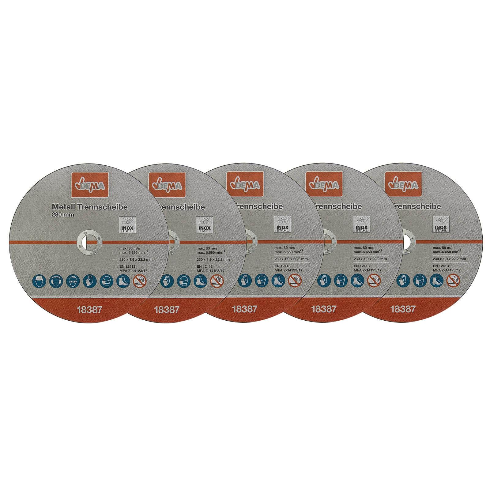 Dema Metall Trennscheibe 5-er Set 230mm Flexscheibe Winkelschleifer Trennschleifer 18387