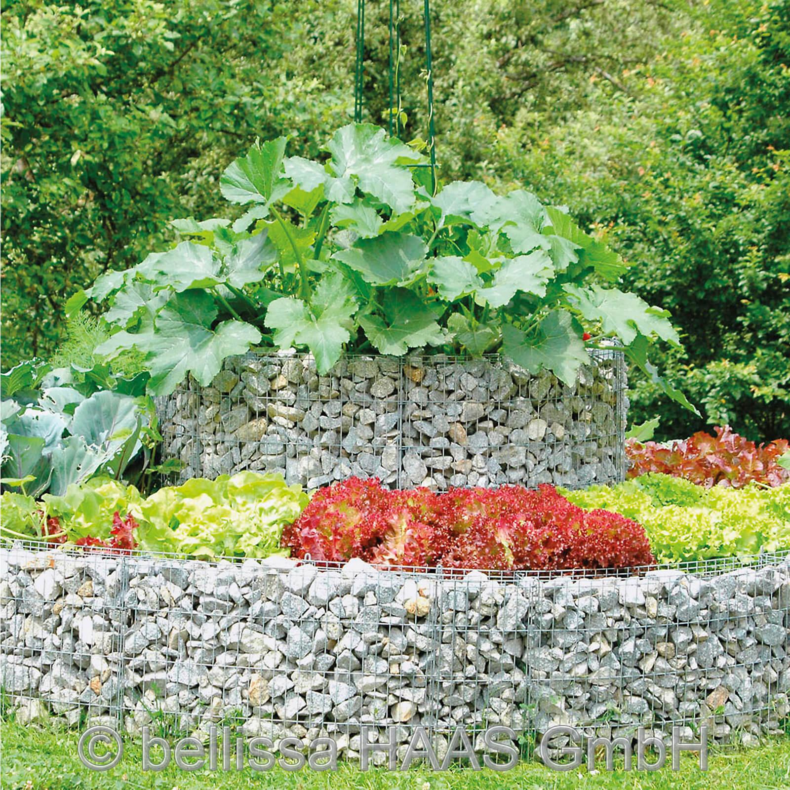 bellissa Hochbeet Gabione Steinkorb Ø 240/220 cm H 40 cm inkl. Trennfolie Garten 95568