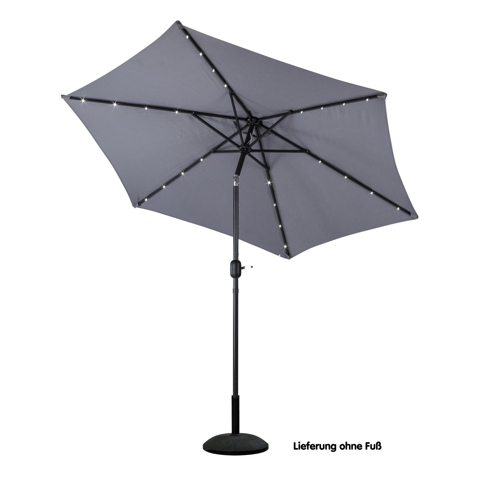 alu sonnenschirm 270cm gartenschirm solar led beleuchtung schirm anthrazit ebay. Black Bedroom Furniture Sets. Home Design Ideas