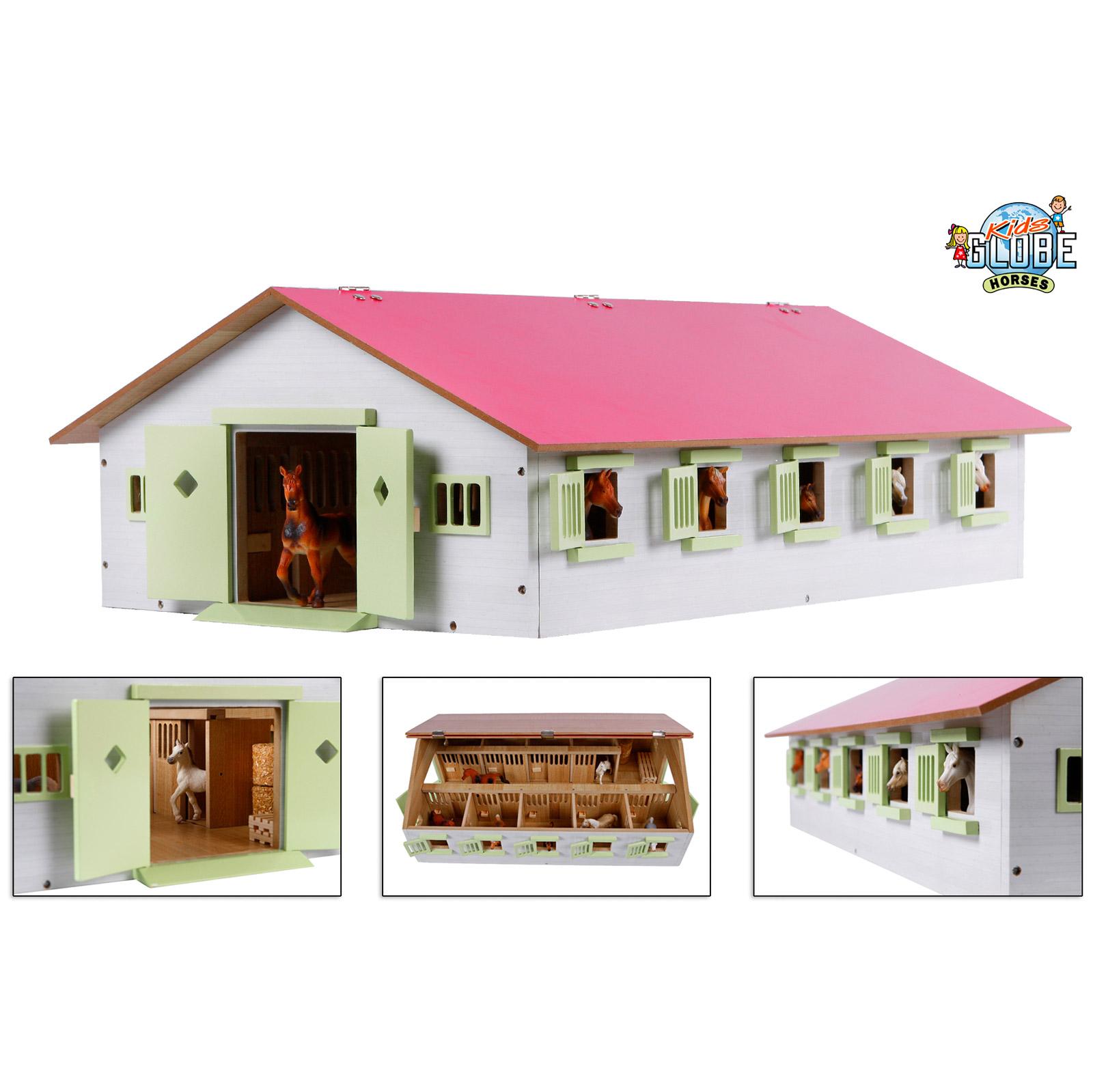 Van Manen Kids Globe Pferdestall Bauernhof rosa 1:32 mit 9 Pferdeboxen 12434