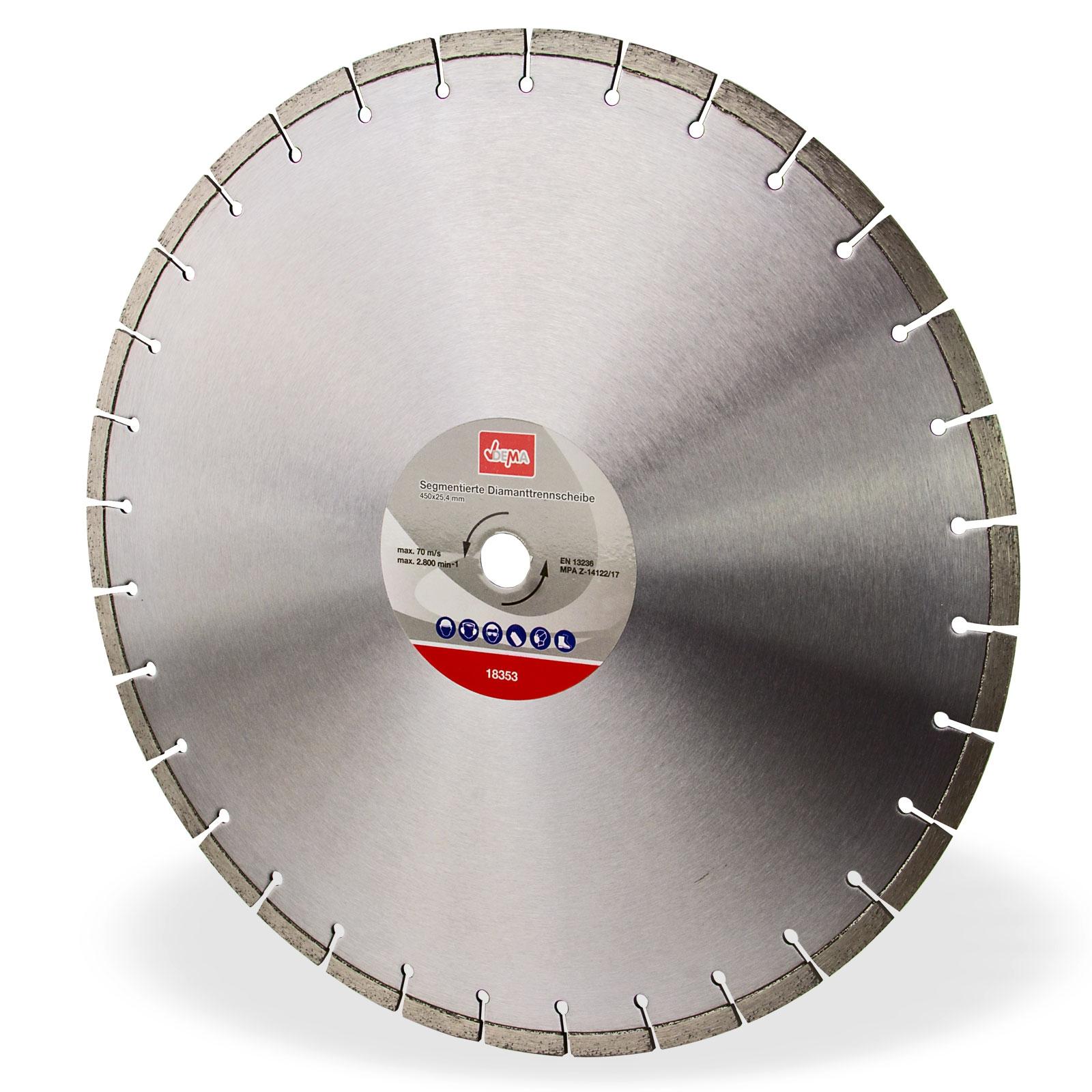 Dema Segmentierte Diamanttrennscheibe 450x25,4 mm Trennscheibe Diamant Beton Granit 18353