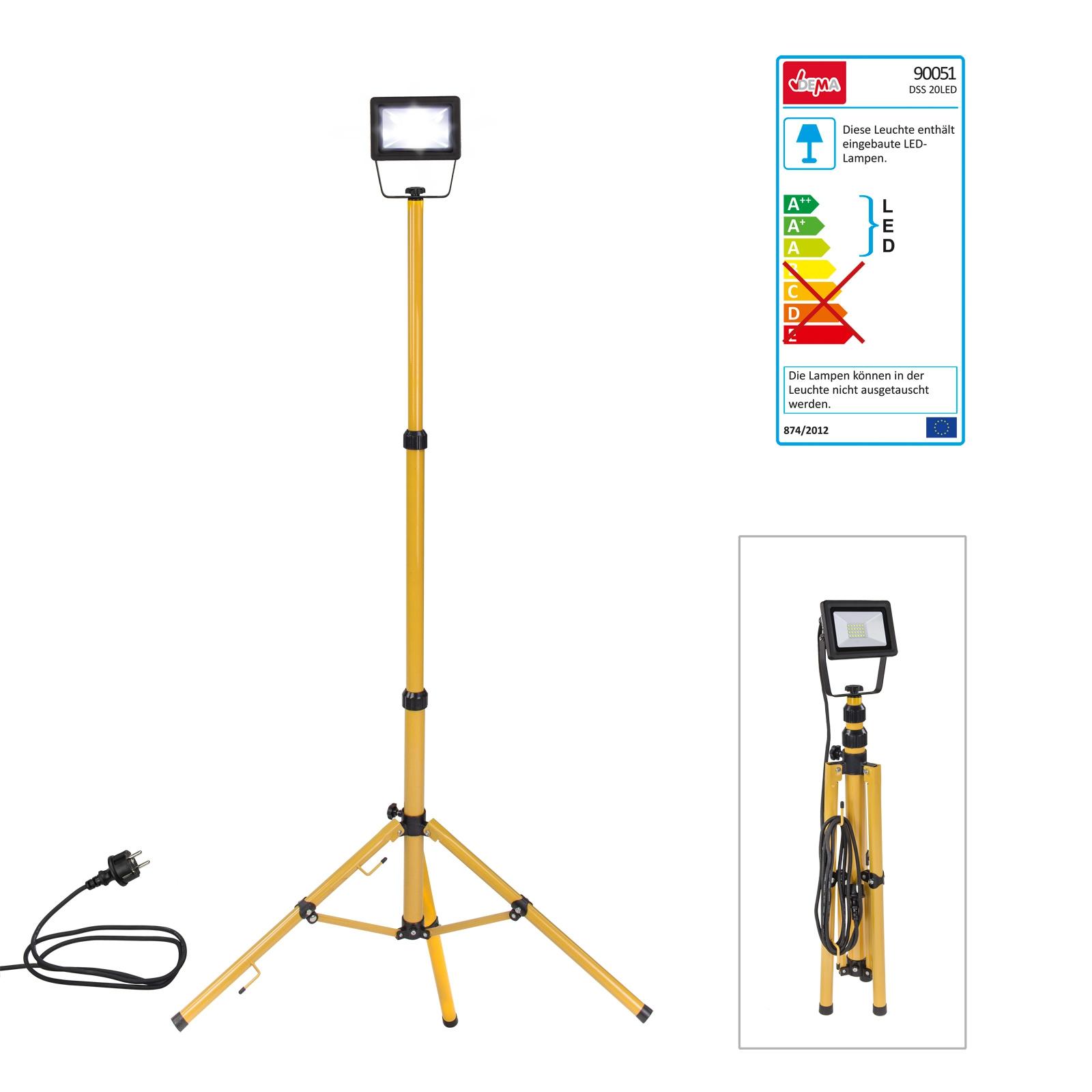 Dema LED-Strahler Slim 20W mit Stativ Strahler Baustrahler 90051