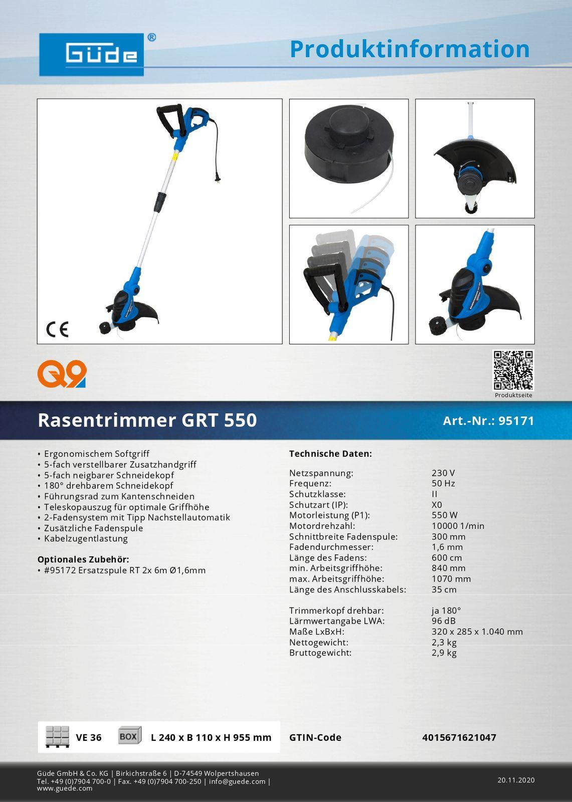 Güde Rasentrimmer GRT 550 Rasenkantenschneider Elektro Motorsense Freischneider 95171