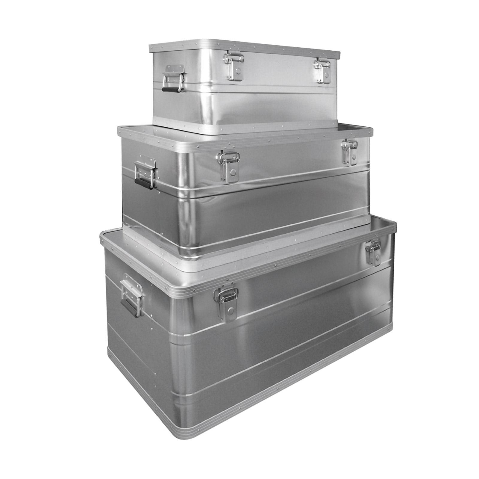 Dema Aluboxen 3er Set 45/90/140 Ltr. Alubox Aufbewahrung Box Set Koffer 20833