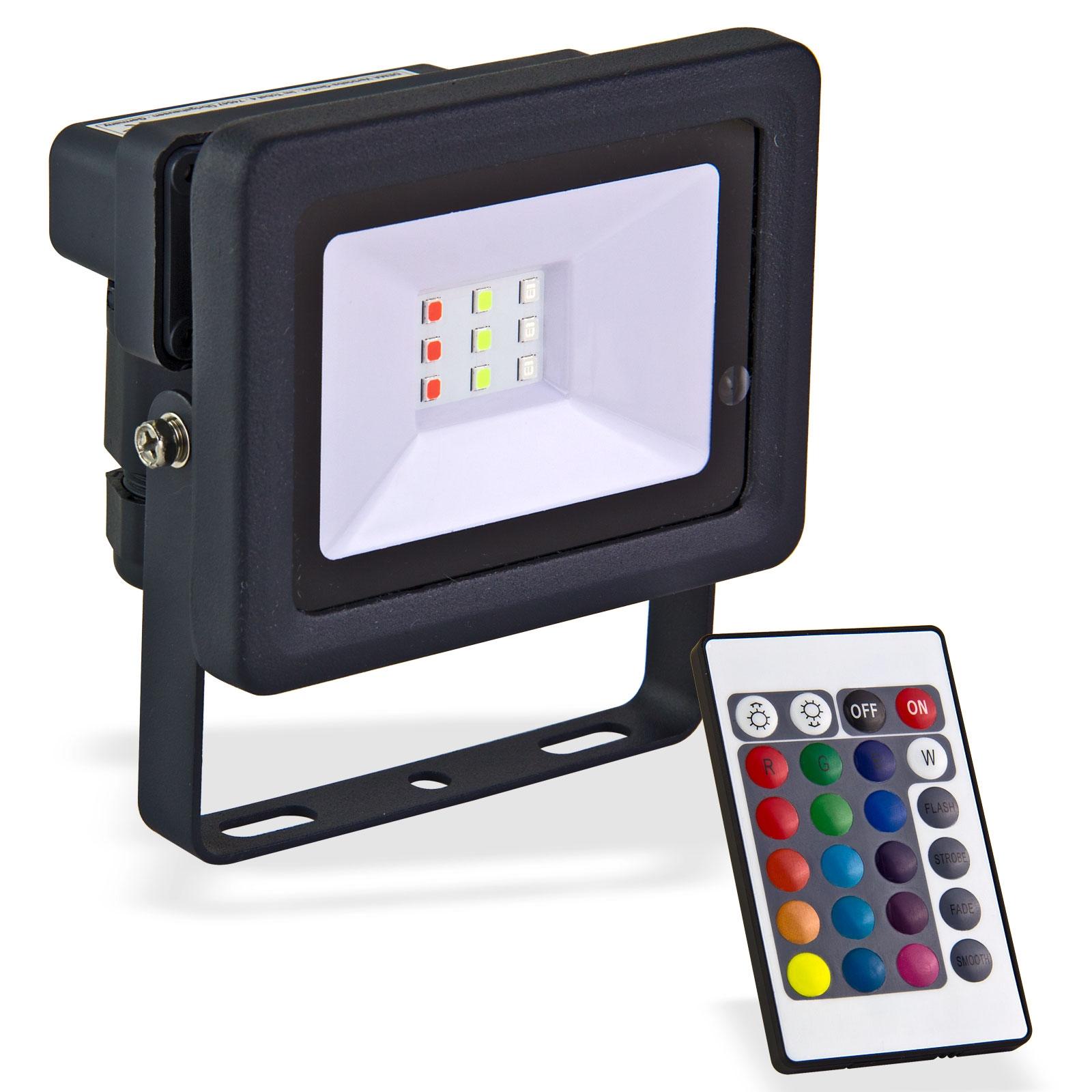Dema LED-Strahler bunt 10W Strahler Bunt Baustrahler Flutlicht LED 90065