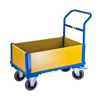 ADB Transportwagen mit 4 Holzwänden Handwagen Plattformwagen Transportkarre – Bild $_i