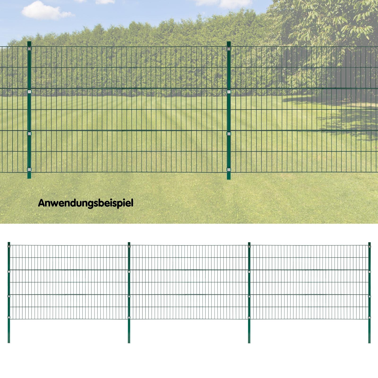 Dema Stabmattenzaun grün 6x1,2 m Stabmattenzaun Gartenzaun Grundstückszaun Metallzaun 31350