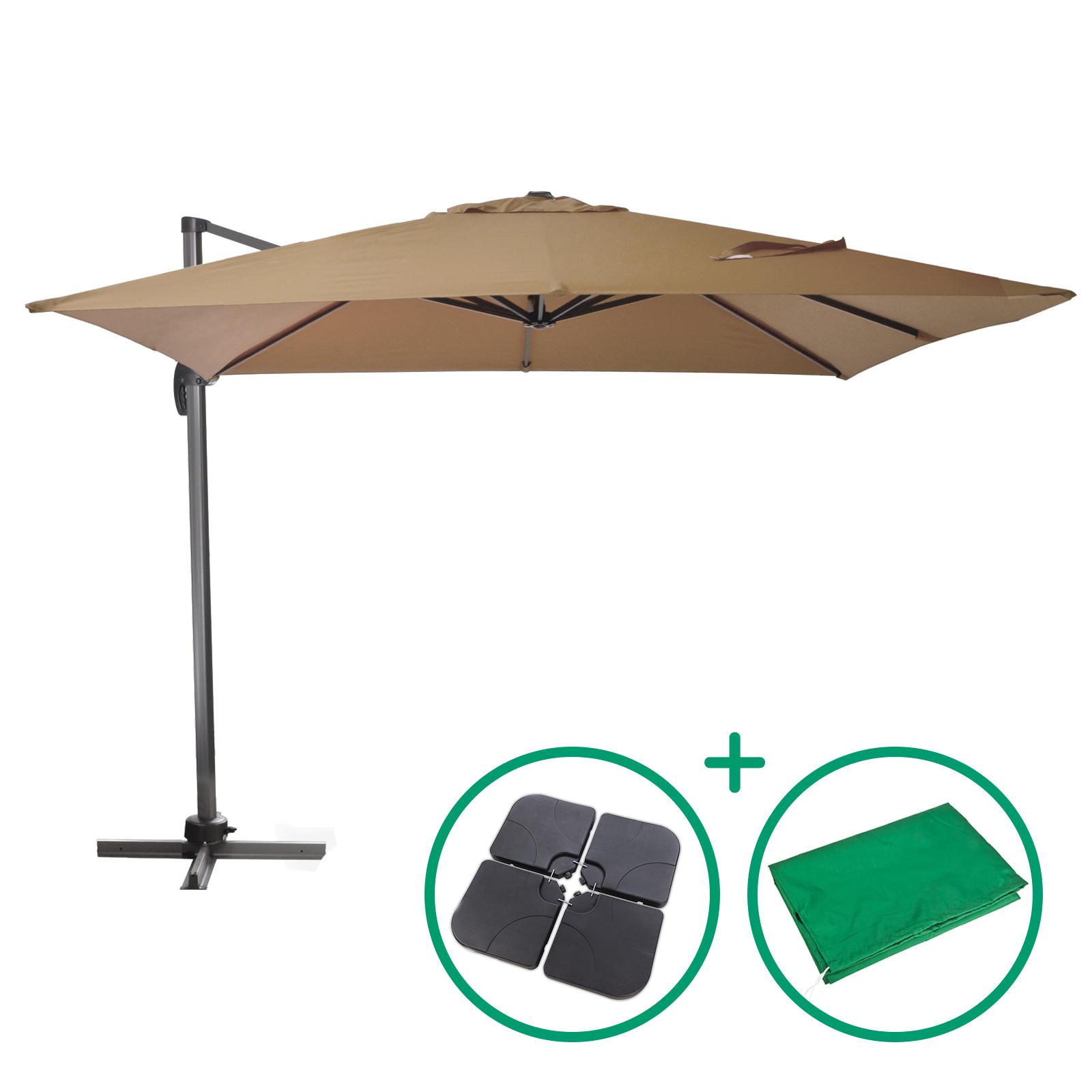 Dema Ampelschirm 300 x 300 cm mit Schutzhülle und Schirmständer ver. Farben ampelschirm-set-khaki