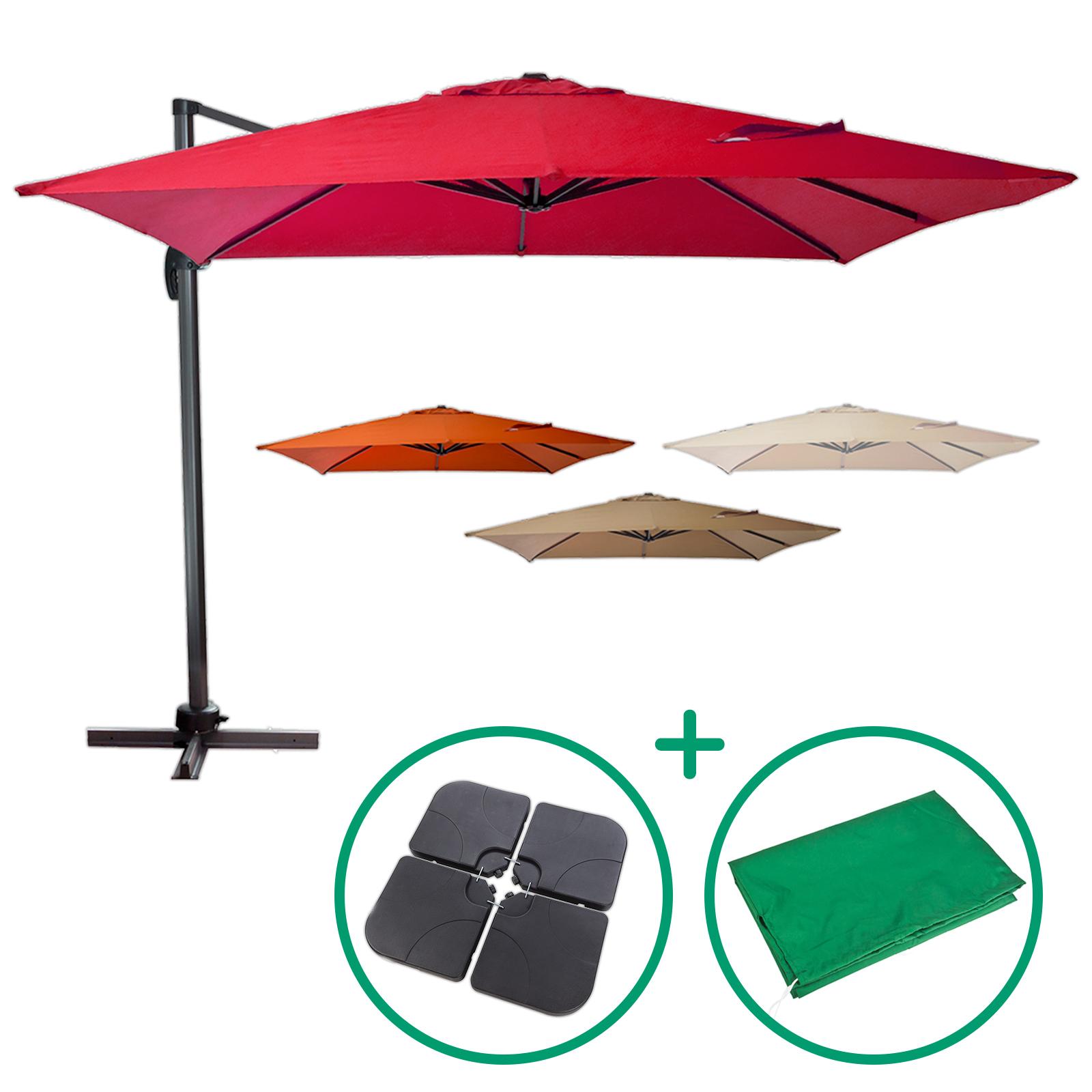 Favorit Ampelschirm 300 x 300 cm mit Schutzhülle und Schirmständer ver. Farben VG98