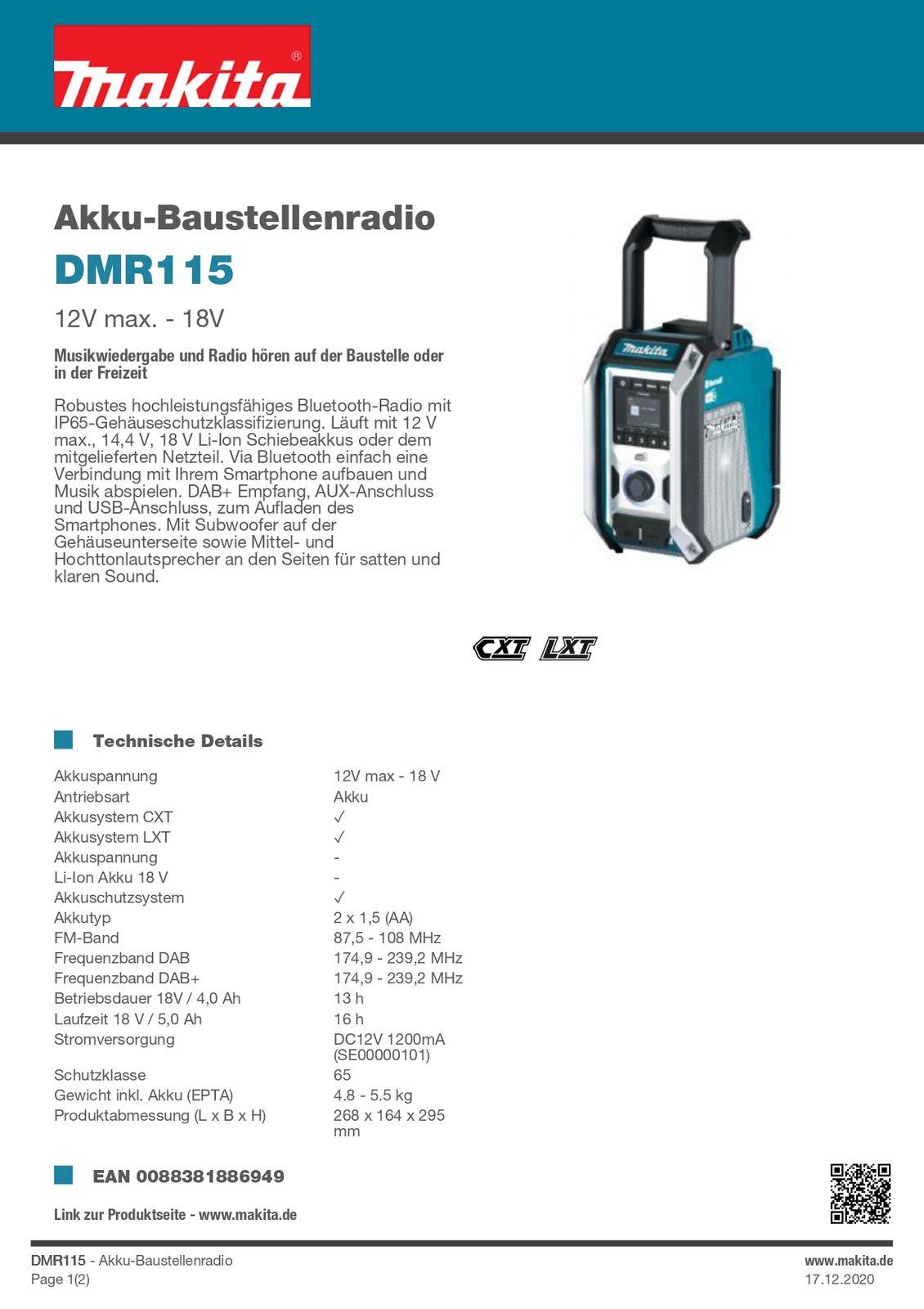 Makita DMR 115 Akku Baustellenradio Akkuradio Radio 16071