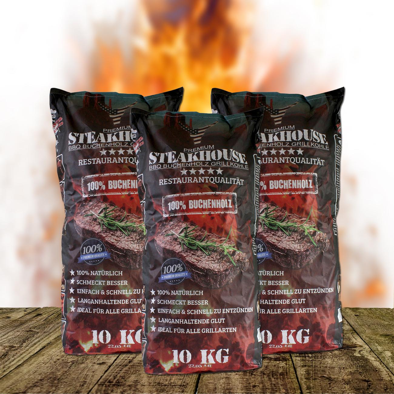 STABILO Steakhouse Premium Grillkohle aus Buche (10, 20, 30, 40, 50 o. 60 kg) 3x262902
