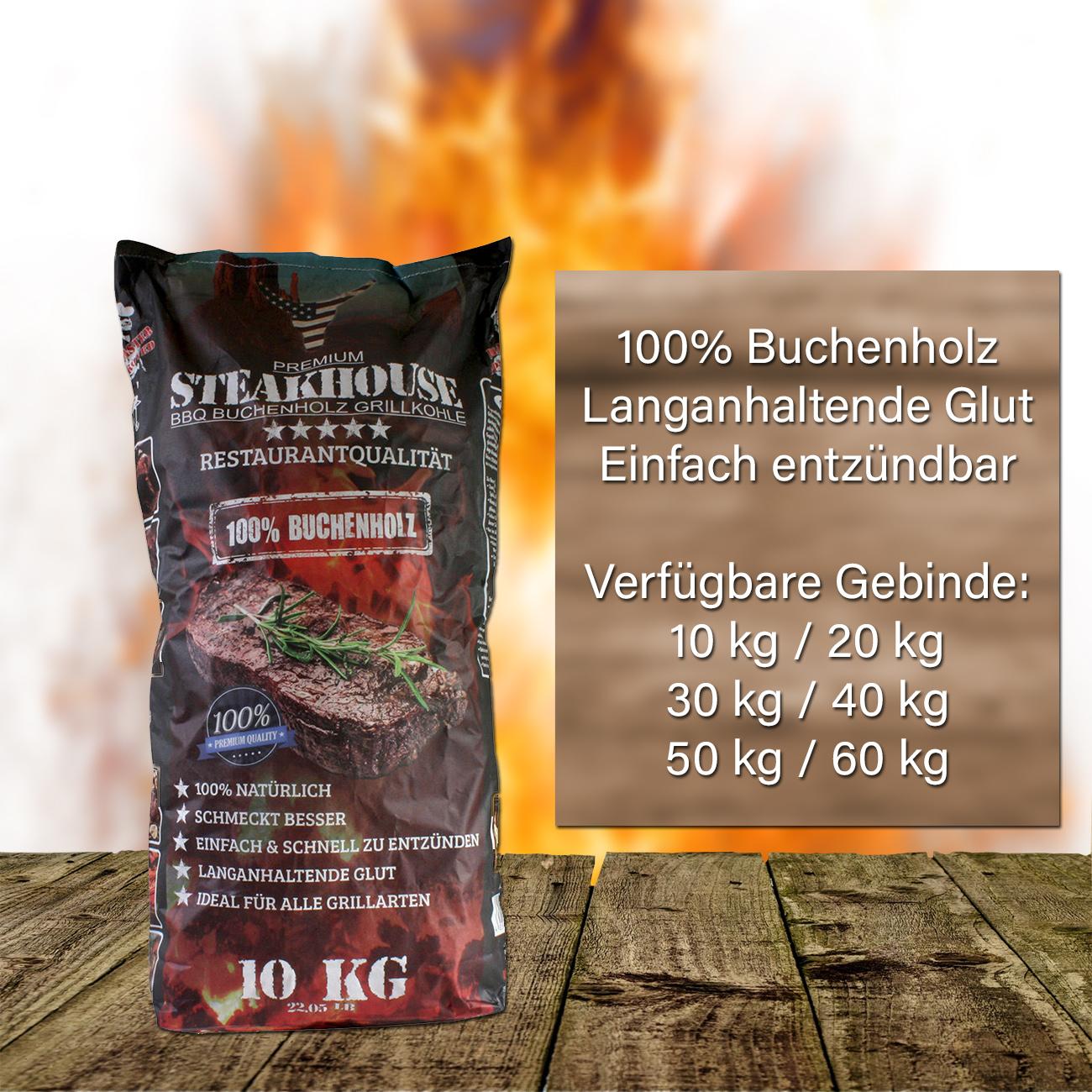 Steakhouse Premium Holzkohle Grillkohle aus 100/% Buchenholz 40 kg 4x 10 kg