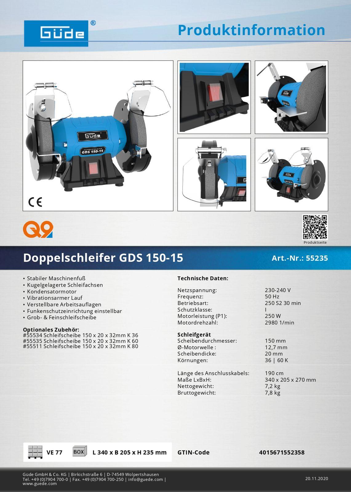 Güde Doppelschleifer Schleifmaschine Schleifbock GDS 150-15 Schleifgerät 55235