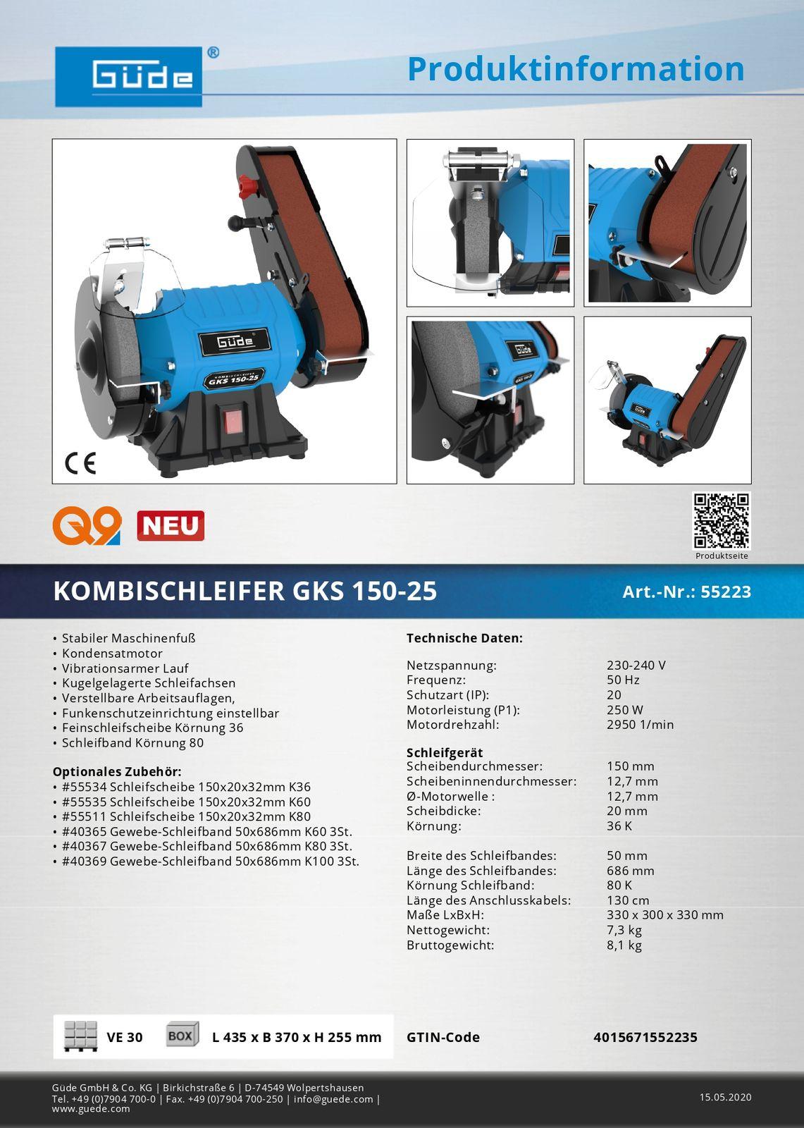 Güde Kombischleifer GKS 150-25 Doppelschleifer Schleifmaschine Schleifbock 55223 GKS150-25